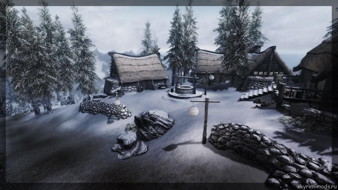 Новая деревушка в заснеженных горах